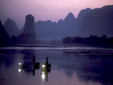 Cormorant Fishers Work the Li River Near Yangshou Photographic Print by Kenneth Ginn