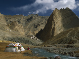 Trekker Writes in Diary Beside Tibetan Tent, Photoskar Village, Ladakh, Himalayas, Northwest India Photographic Print by Colin Monteath/Minden Pictures