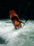A Kayaker Paddles in Waves on the Kananskis River, Near Calgary Photographic Print by Gordon Wiltsie