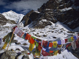 Prayer Flags, Gotcha La, Five Thousandm, Kangchenjunga, Talung Face, Sikkim Himalaya, India Photographic Print by Colin Monteath/Minden Pictures