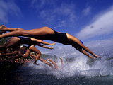 Women Diving and Jumping into Lake Banyoles Photographic Print by Tino Soriano