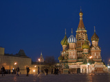 Pedestrians Walk Through Red Square Near Saint Basil's Cathedral Photographic Print by Gordon Wiltsie
