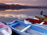 Cloud Reflections and Boats on Lake Banyoles at Sunset Photographic Print by Tino Soriano