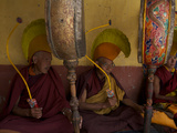 Monks in Ceremonial Hats Beat Drums at the Karsha Gustor Festival Photographic Print by Steve Winter