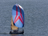 Sailboat Flying Spinnaker During a Race Fotografiskt tryck av Pete Ryan