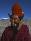 The Head Abbot Talks on a Cell Phone at the Karsha Monastery Photographic Print by Steve Winter
