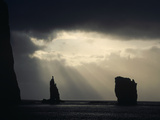 Silhouetted Cliffs with Stormy Skies, North Coast, Eysturoy, Faroe Islands Photographic Print by Tui De Roy/Minden Pictures
