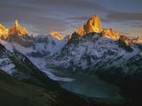 Cerro Torre and Fitzroy, Dawn, Loma Pelique Tumbado, Los Glaciares Nat'l Park, Patagonia, Argentina Photographic Print by Colin Monteath/Minden Pictures