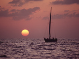 Sailboat Adrift at Sunset, Sri Lanka Photographic Print by Flip Nicklin/Minden Pictures