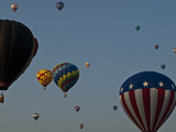 Many People Lift Off in Hot Air Balloons Photographic Print by Stacy Gold