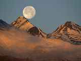 Moon over Snow-Covered Mountains, Kluane Nat'l Park, Canada Photographic Print by Theo Allofs/Minden Pictures