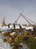 Nomadic Komi Reindeer Herders Assemble Chums over their Belongings Photographic Print by Gordon Wiltsie