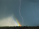 Lightning and Rainbow, Santa Rita Mountains, Arizona Photographic Print by Tom Vezo/Minden Pictures