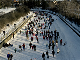Skaters Enjoy a Beautiful Winter Afternoon on the Rideau Canal, Ottawa Photographic Print by Kenneth Ginn