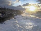 Winter Storm Along Basalt Coastline, Bay of Fundy, Nova Scotia, Canada Photographic Print by Scott Leslie/Minden Pictures