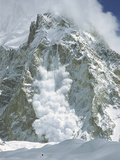 Powder Snow Avalanche Falling from Gasherbrum, Baltoro Glacier, Karakoram Mountains, Pakistan Photographic Print by Colin Monteath/Minden Pictures