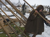 A Komi Reindeer Herder Dissassembles the Poles That Hold Up Her Chum Photographic Print by Gordon Wiltsie
