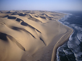 Aerial View of Sand Dunes Along the Skeleton Coast, Walvis Bay, Namibia Photographic Print by Michael and Patricia Fogden/Minden Pictures