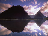 Mitre Peak at Sunset, Milford Sound, Fiordland National Park, New Zealand Photographic Print by Colin Monteath/Minden Pictures