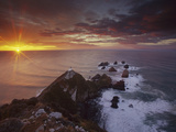 Nugget Point Lighthouse at Sunrise, South Island, New Zealand Photographic Print by Colin Monteath/Minden Pictures