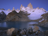 High Granite Spires, Lago De Los Tres and Cerro Fitzroy, Los Glaciares Nat'l Park, Argentina Photographic Print by Theo Allofs/Minden Pictures