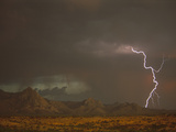 Monsoon Rains and Lightning over the Santa Rita Mountains, Arizona Photographic Print by Tom Vezo/Minden Pictures