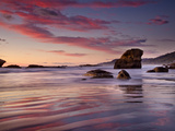 Sunset on Beach North of Punakaiki, Paparoa National Park, New Zealand Photographic Print by Colin Monteath/Minden Pictures