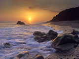 Sunset over Leo Carillo State Beach, Malibu, California Photographic Print by Tim Fitzharris/Minden Pictures