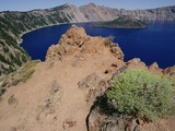 Wizard Island and Lake Shore, Mt Mazama, Crater Lake National Park, Oregon Photographic Print by Gerry Ellis