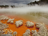 Rain Storm Approaches Champagne Pool, Wai-O-Tapu Thermal Wonderland, Rotorua, New Zealand Photographic Print by Colin Monteath/Minden Pictures