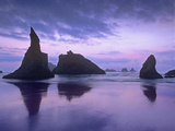 Sea Stacks at Dusk Along Bandon Beach, Oregon Photographic Print by Tim Fitzharris/Minden Pictures