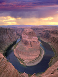 Storm Clouds over the Colorado River at Horseshoe Bend Near Page, Arizona Photographic Print by Tim Fitzharris/Minden Pictures