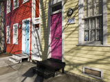 Colorful Houses on South Ann Street in the Fell's Point Neighborhood Fotografiskt tryck av Krista Rossow