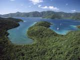 Aerial View of Hurricane Bay, Virgin Islands National Park, St John Island, Caribbean Photographic Print by Gerry Ellis