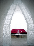 A Bedroom of the Ice Hotel in the Lainio Snow Village Photographic Print by Alison Wright