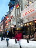 Shopping at Christmas in Snow Photographic Print by Abraham Nowitz