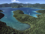 Aerial View of Hurricane Bay, Virgin Islands National Park, St John Island Photographic Print by Gerry Ellis