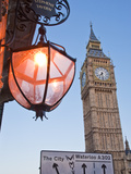 Big Ben and Pub and Traffic Signs at Dusk Photographic Print by Richard Nowitz