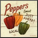 David Carter Brown - Sweet Peppers Reprodukce aplikovaná na dřevěnou desku