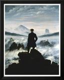 De dwaler boven de zee van mist Print van Caspar David Friedrich