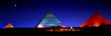 The Pyramids of Giza Lit Up at Night Photographic Print by Chris Hill