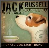 Stephen Fowler - Jack Russel Coffee Co. Reprodukce aplikovaná na dřevěnou desku