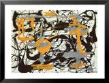 Yellow, Grey, Black Print by Jackson Pollock