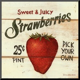 David Carter Brown - Sweet and Juicy Strawberries Reprodukce aplikovaná na dřevěnou desku