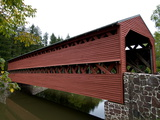 Covered Bridge over a Calm Stream Photographic Print by Brian Gordon Green