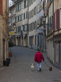 A Man Walks His Dogs in the Morning Photographic Print by Greg Dale