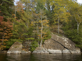 Autumn Color and Large Cracked Boulders on the Shore of Long Pond Photographic Print by Tim Laman