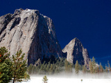 A Full Moon Lights Up the Yosemite Valley in Winter Photographic Print by Ben Horton