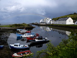 A Rainbow over the Cushendun Harbor Photographic Print by Chris Hill