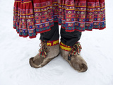 Reindeer Fur Boots at Ounaskievari Reindeer Farm Photographic Print by Alison Wright